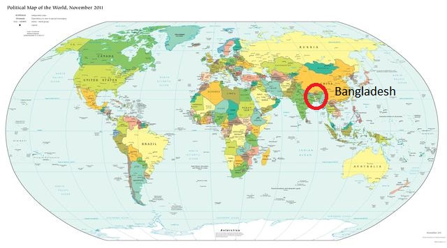 Bangladesh is so tiny as to be nearly invisible on the world map.