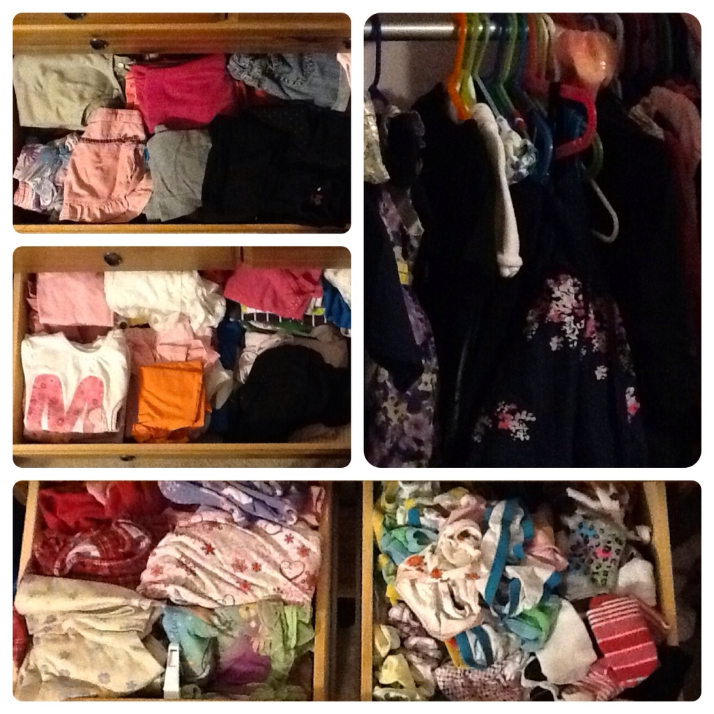 Drawers are filled to the brim with small clothes.