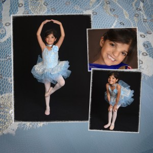 M in her blue sequined ballet costume.