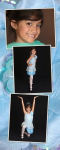 J in her blue sequined tap costume.