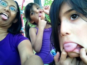 Sadia, J and M making faces
