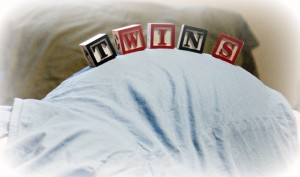 Twins Pregnancy Belly Block Letters