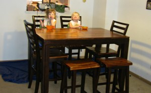 twins eating at table