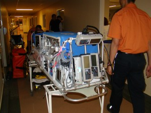 Twin A ready for transport to Level III NICU