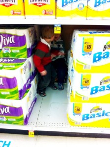 Twins hiding in the paper towels: Grocery Shopping with Multiples: hdydi.com