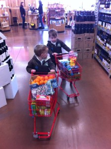 Twin boys push miniature shopping carts in the store: Grocery Shopping with Multiples from hdydi.com