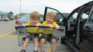 Twins in a double shopping cart seat: Grocery Shopping with Twins from hdydi.com