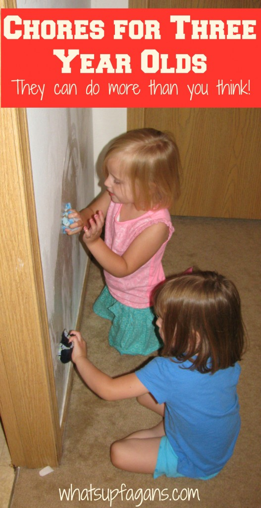 Regular Chores for Three Year Olds; they can do more than you think! whatsupfagans.com
