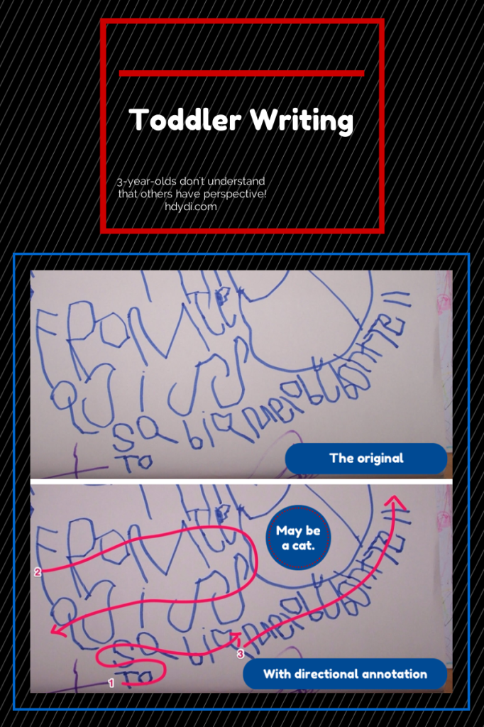 This 3-year-old has mastered neither linear writing nor secret-keeping. from hdydi.com