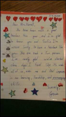 A 7-year-old wrote this to her teacher after learning about the 5 love languages. From hdydi.com
