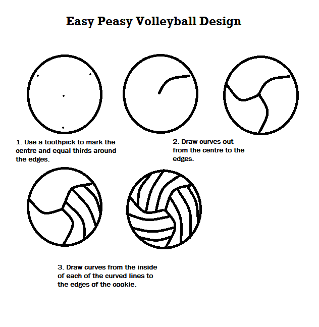 Straightforward volleyball design for cookies (or cupcakes... or whatever)