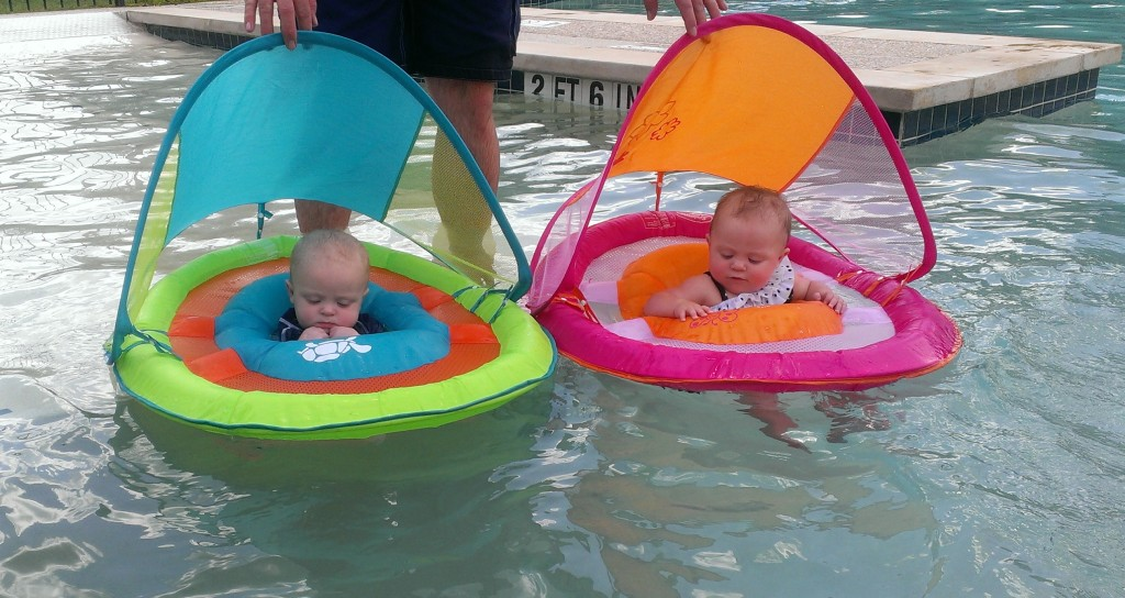 The babies using their floats. See how low Rhodes is? We haven't used them much since.