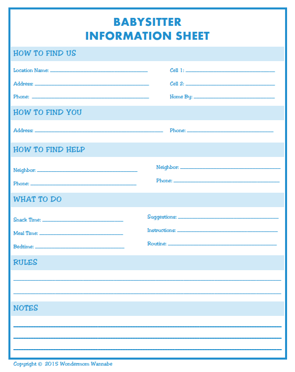 A free printable for your babysitter, making sure all the important stuff gets covered!