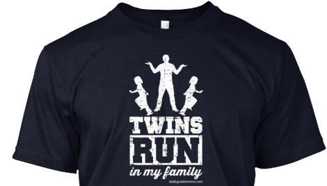 Twins run... just like those llamas. From Dad's Guide to Twins.