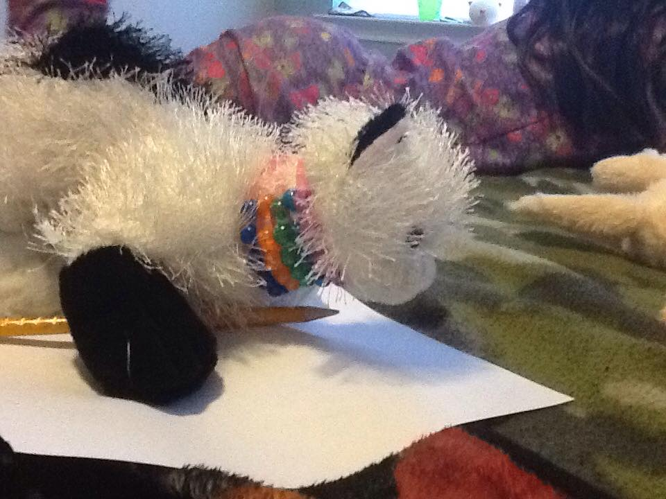 Mommy and daughter play pretend.