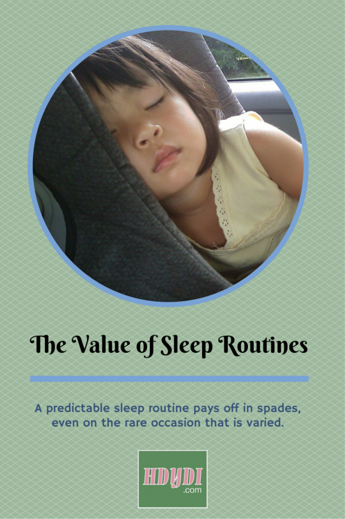A predictable sleep routine is a great anchor on the rare occasion when you diverge from it!  Great thoughts from a mom of twin babies and a preschooler.