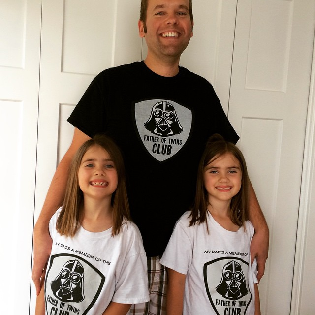 Joe, author of Dad's Guide to Twins, with his identical twin daughters. He talks about why dads aren't more visible in online parenting communities.