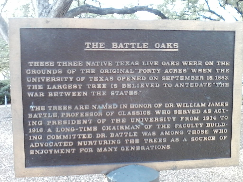 A plaque at UT Austin.