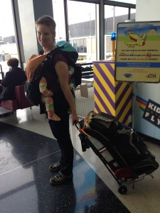 We love our Twin-Go carrier!  Note the car seat as baggage holder in this pic too!