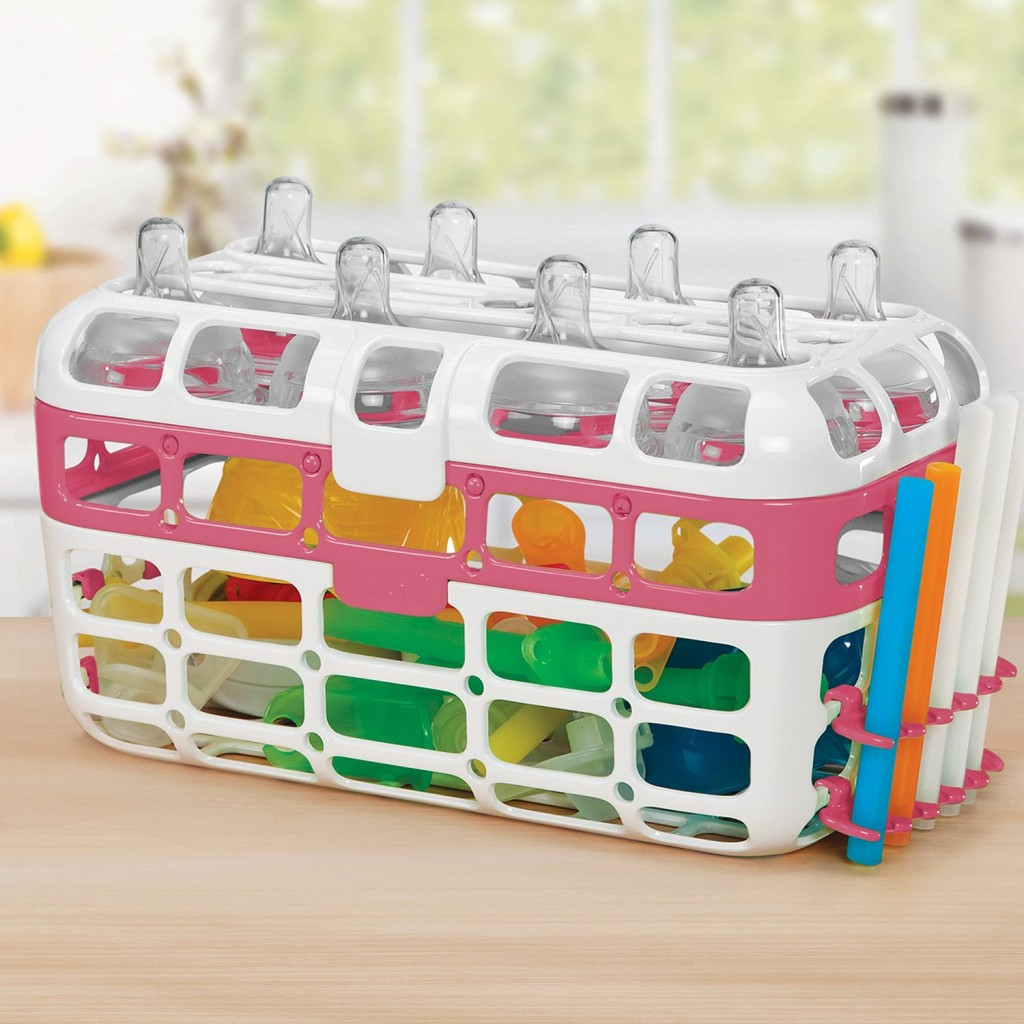 This basket holds small bottle parts for dishwasher disinfection.