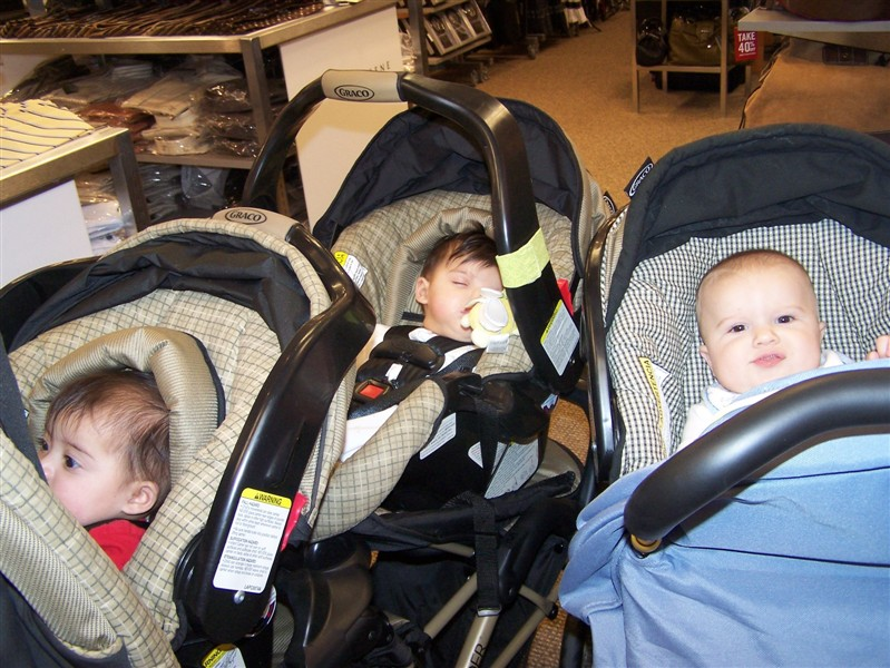 Out and about with other new mommy friends.