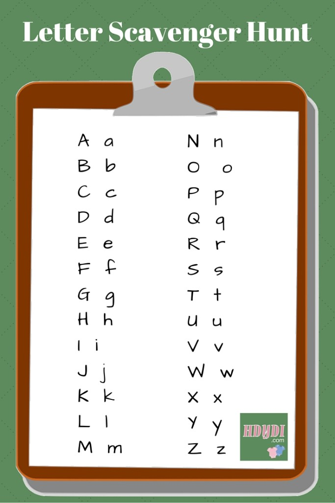 Alphabet scavenger hunts are great fun for a toddler, who doesn't even realize she's learning!