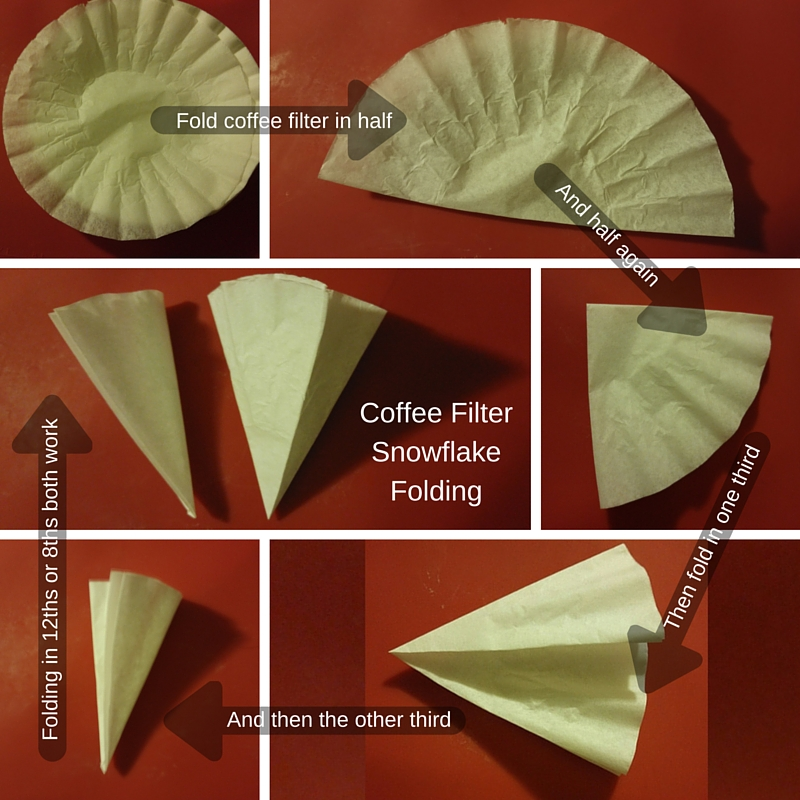 How to fold a coffee filter in even 12ths to make a lovely paper snowflake.