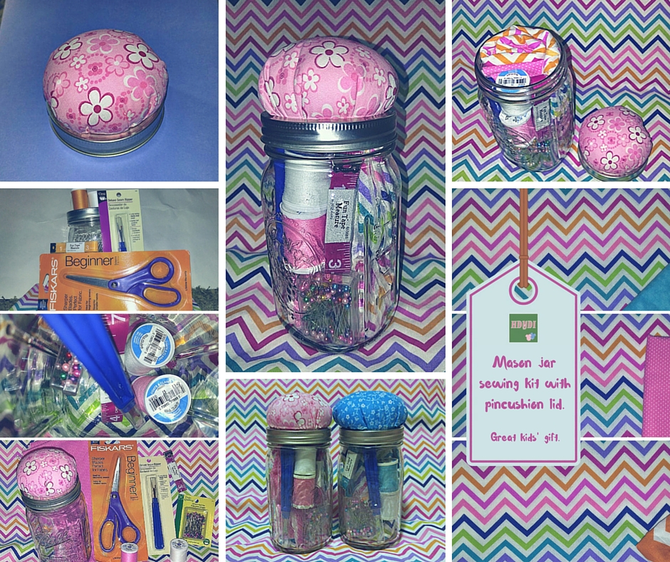Make an experiential gift one that a child can open with this mason jar sewing lesson kit!