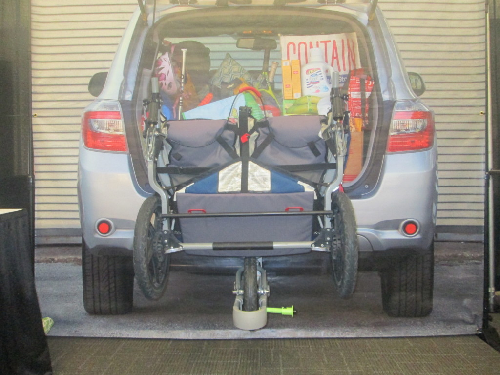 The SCOUT jogging stroller attachment lets you keep your jogging stroller on the outside of your car!