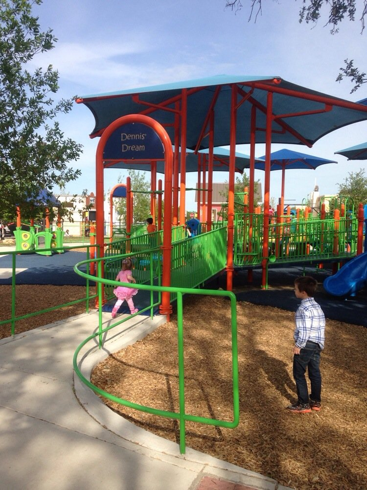 The Play for All Abilities park in Round Rock TX accommodates kids with and without special needs side by side.