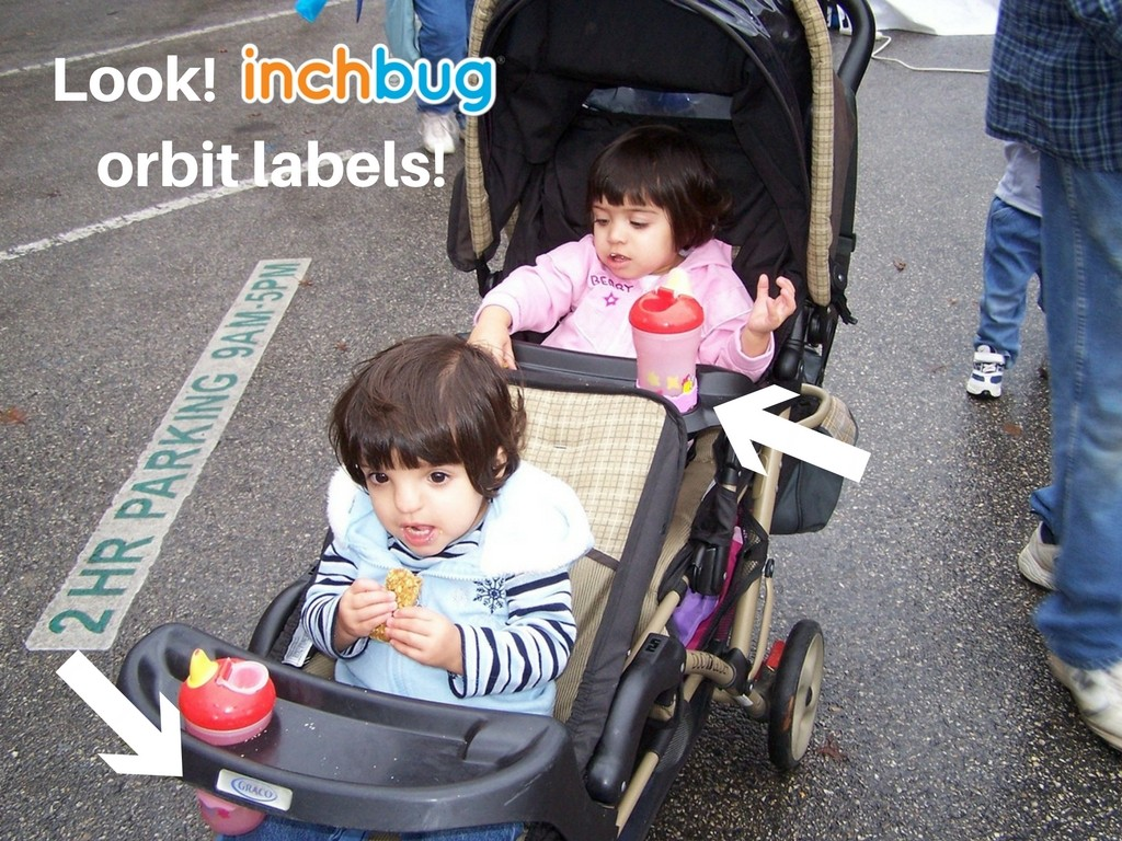 Sadia's twins used Inchbug's Orbit Labels to distinguish their bottles and cups for 10 years.
