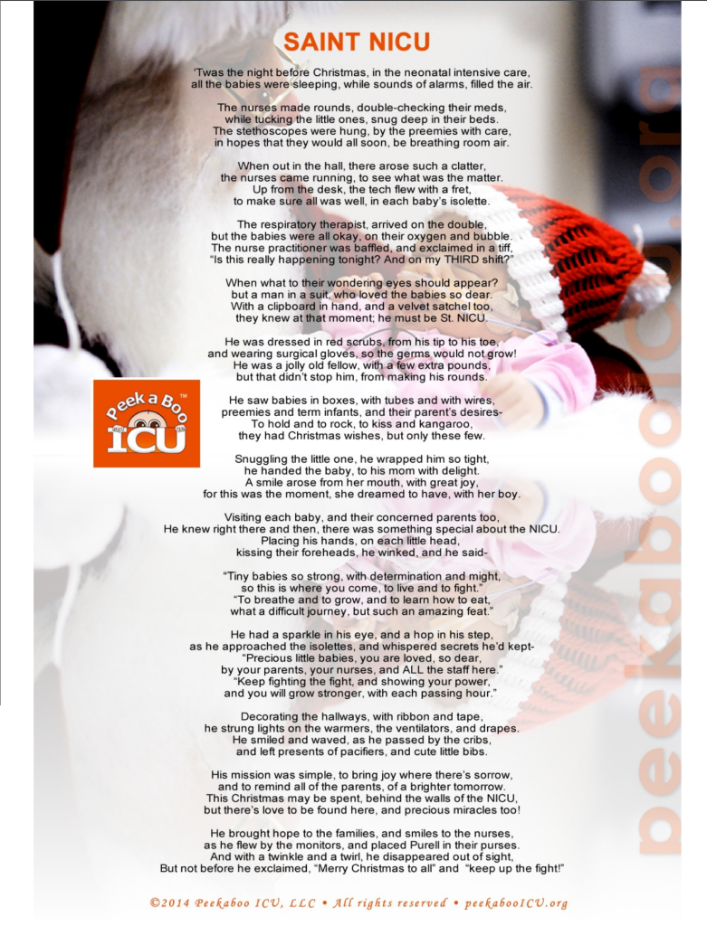 A beautiful testament to the strength of NICU babies everywhere, especially on Christmas. Thanks to Peekaboo ICU.