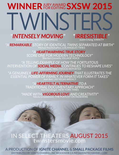 Twinsters Movie flier. A remarkable story of identical twins separated at birth.